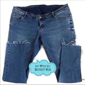 Forever Fit Maternity Distressed Skinny Blue Jeans